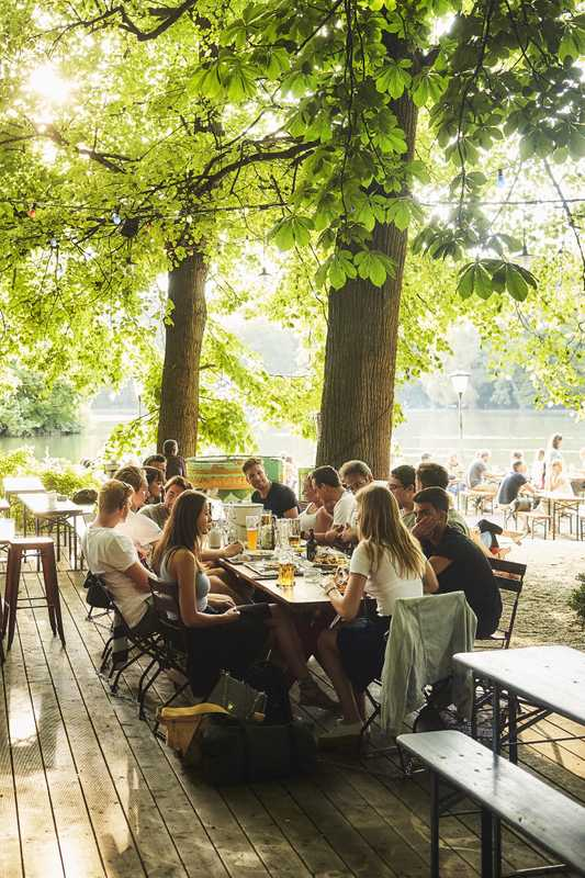 The beer garden at Seehaus is one of the most picturesque and relaxing places in the city