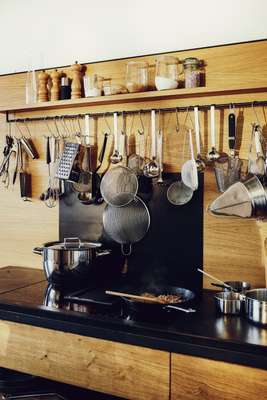 The fully stocked kitchen