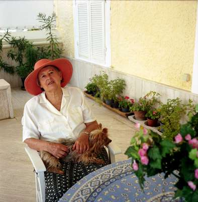 Aliberti Snr's wife, Daphne Wookey, in her summer home in Çesme