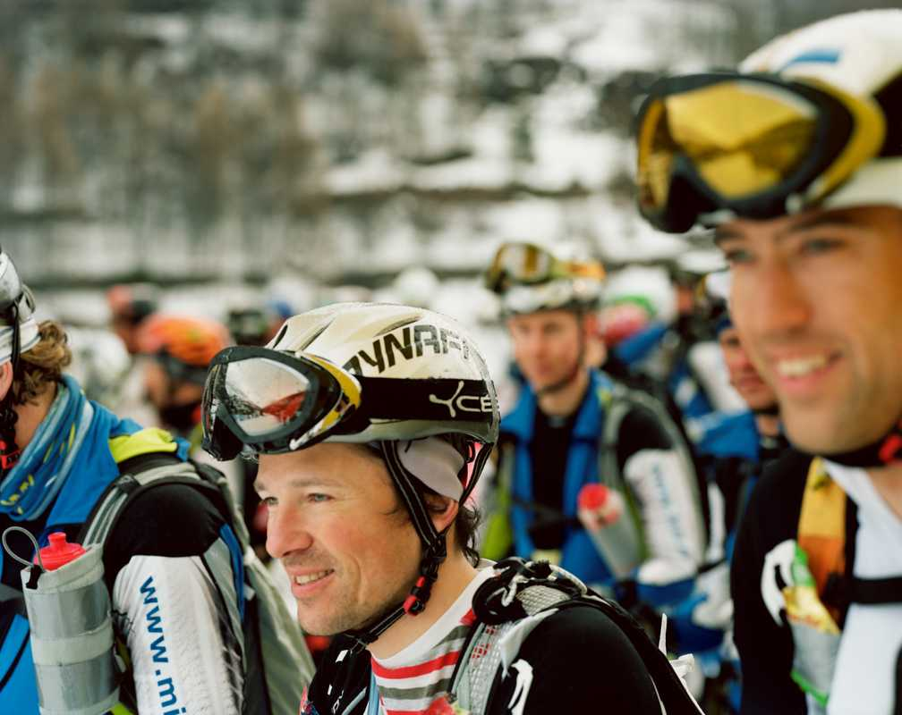 Ski mountaineers about to race