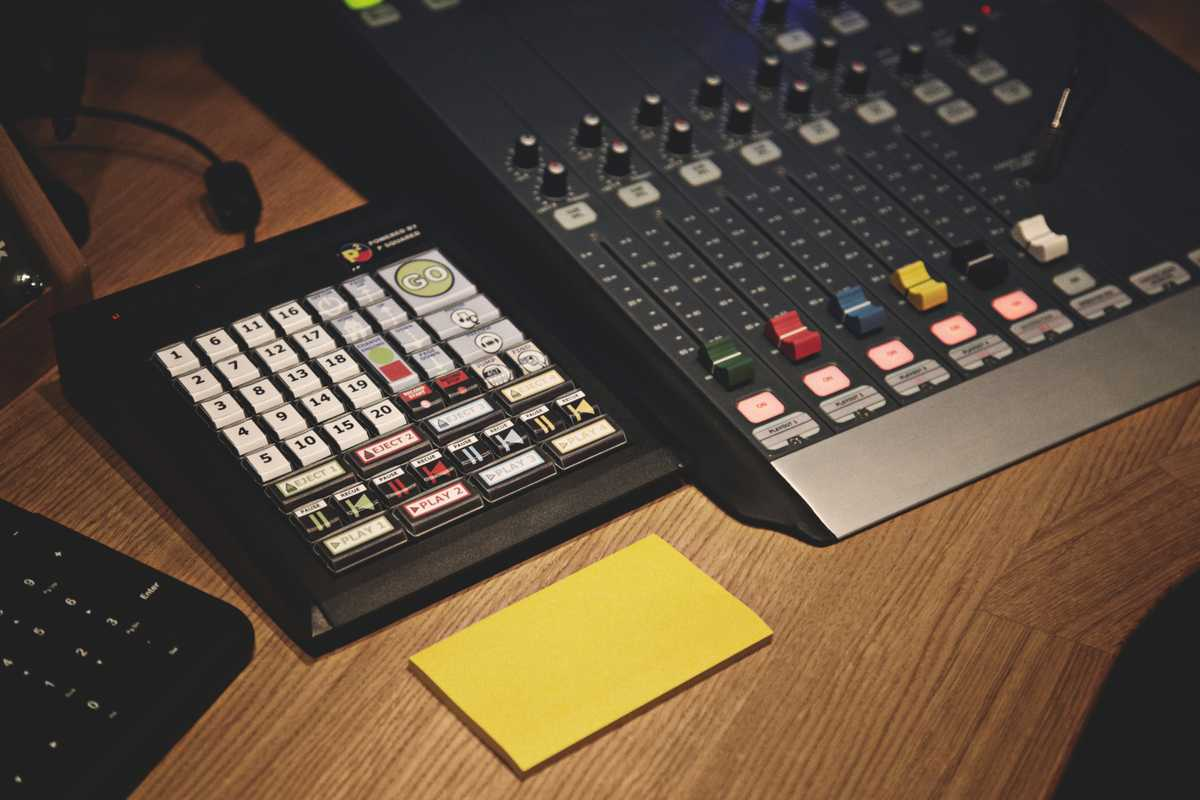 The desk in Studio Two, the heart of the rich sound that makes Monocle 24