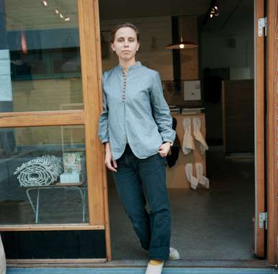 Lomakka's Ebba Mohlin outside the store