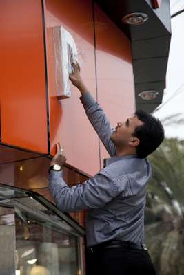 Mohammed Ali works on his store