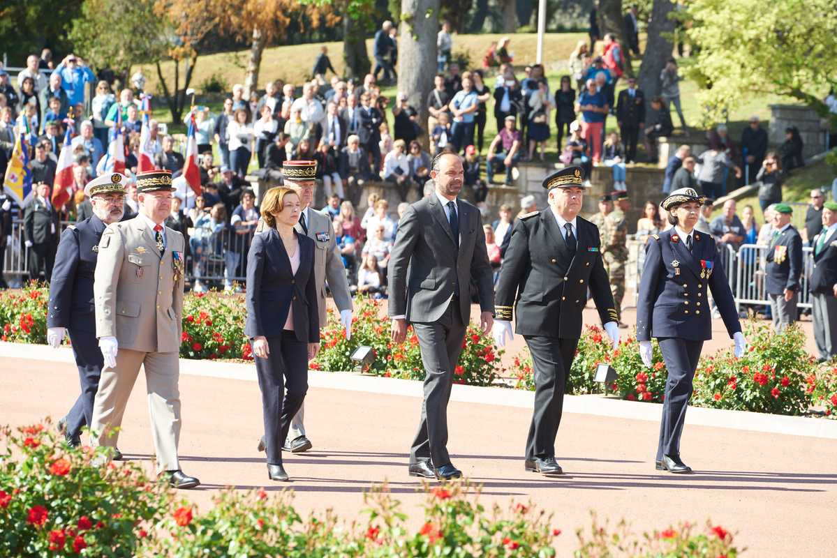 French prime minister Édouard Philippe (centre) at Camerone Day, the first time in modern history that a PM has attended