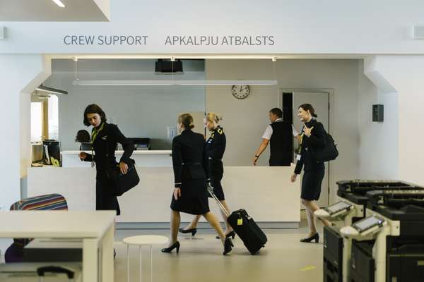 Flight attendants leaving the AirBaltic Crew Centre