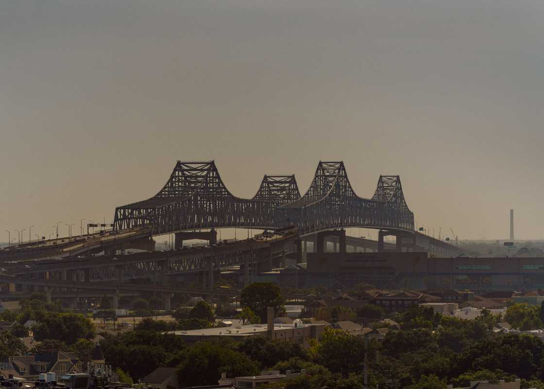 The Crescent City Connection Bridge soars over the Mississippi