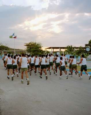 Troops from Brabat1 run around General Barcellar Base