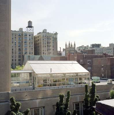 A rooftop greenhouse on top of a school on the Upper West Side
