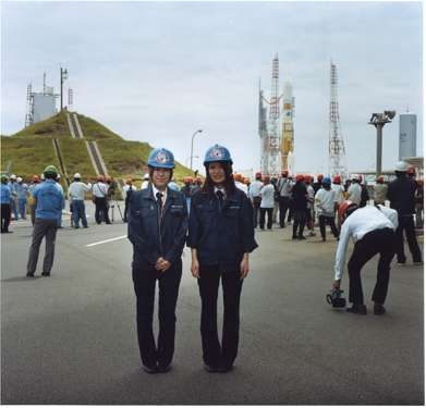 Guides at JAXA on the launch day