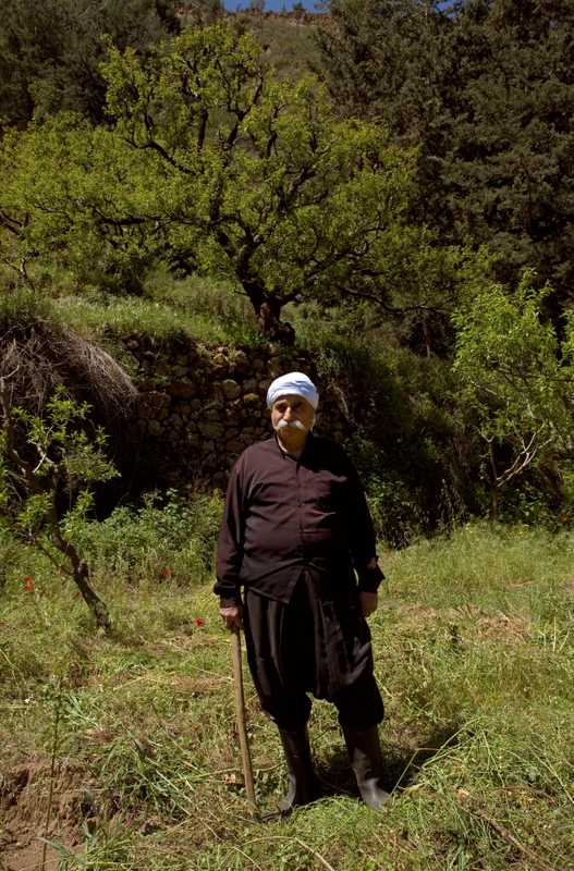 Druze farmer Nadeem Abi Ali in traditional dress