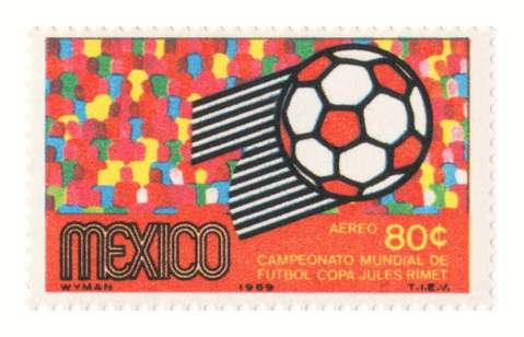 One of the stamps Wyman designed for the Mexico World Cup