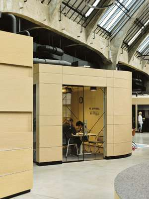 Plywood-clad meeting rooms