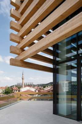 Timber and glass encase  the museum