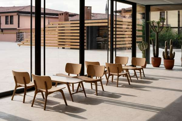 Kengo Kuma-designed  chairs in the café