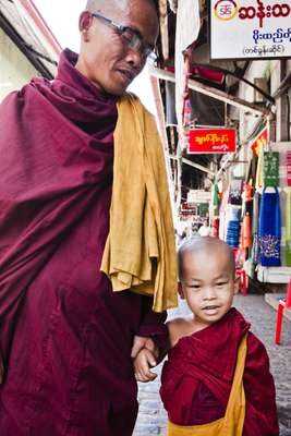 Monk and novice at Scott Market
