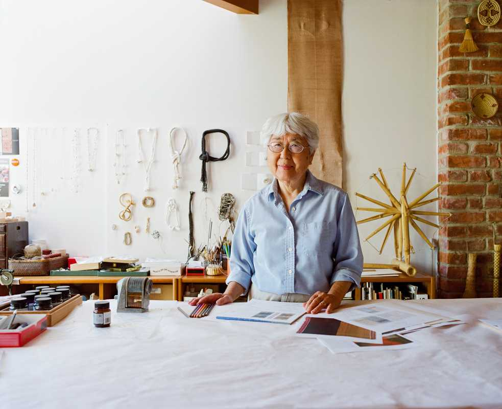 Sekimachi in her jewellery studio