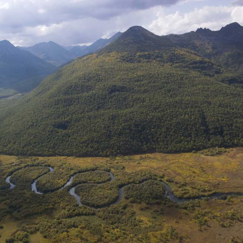 A river winds through a valley near Petropavlovsk