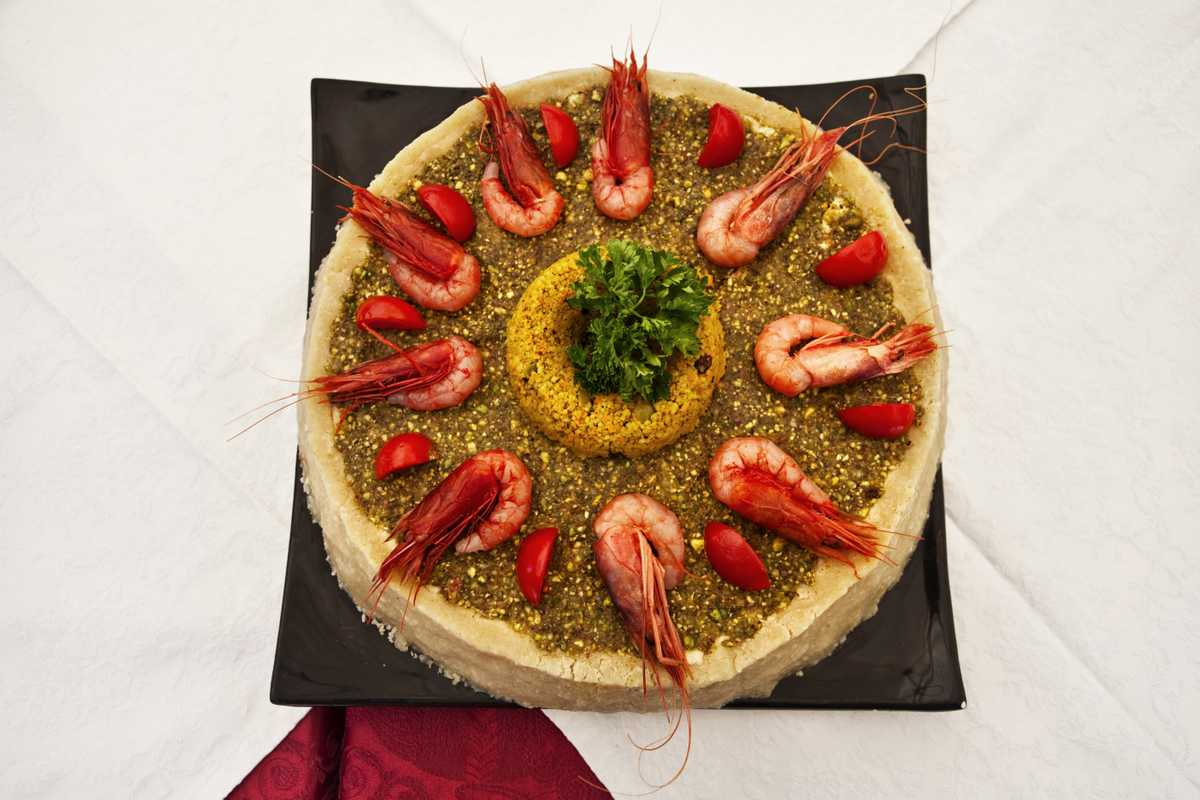 Fake 'cassata' with swordfish and prawns
