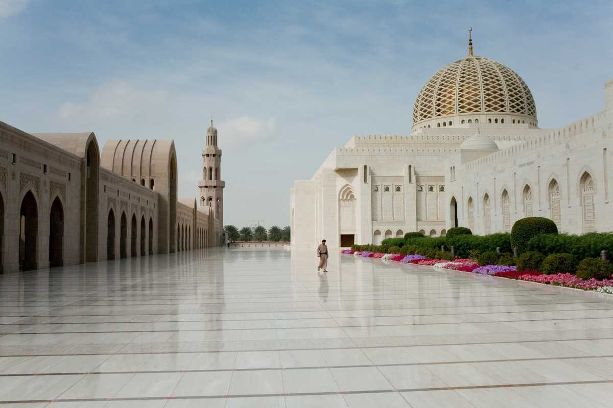 Muscat's Grand Mosque. Like so many public buildings in Muscat it is named after Sultan Qaboos