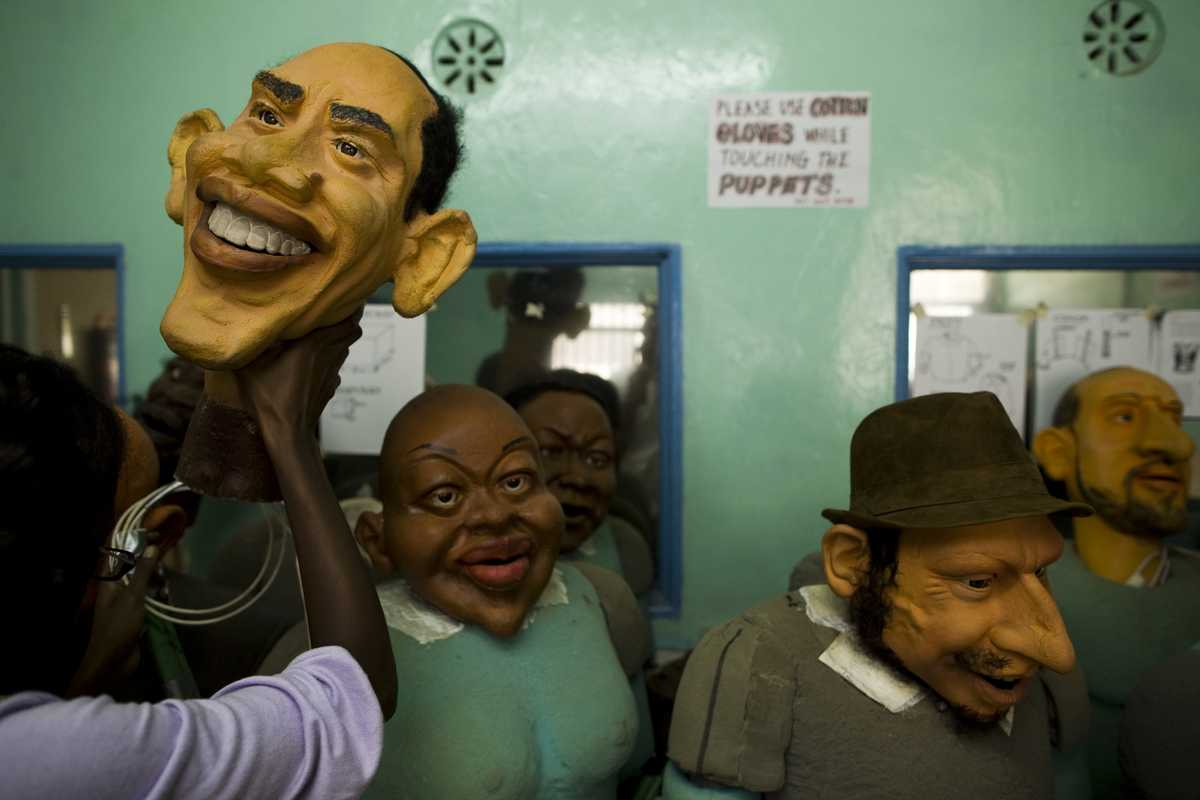 Some of the puppets, including Obama
