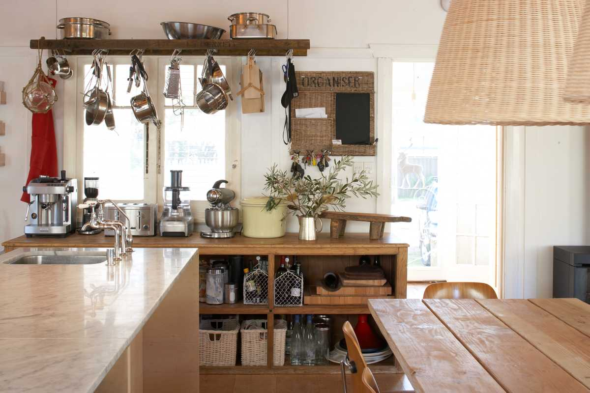 Kitchen, with simple, open-front cabinets