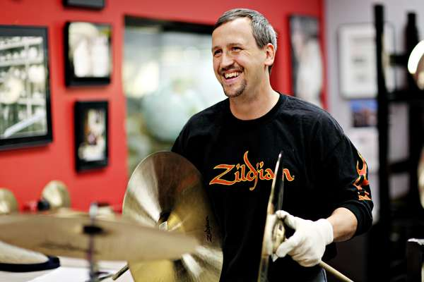 Jeff Westhaver in Zildjian's cymbal sound testing room