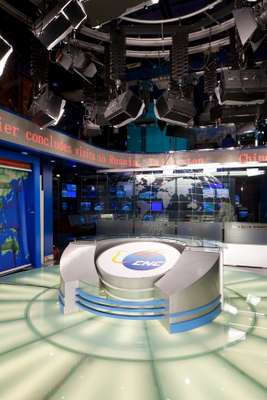 Anchor's desk in CNC's main studio, Beijing