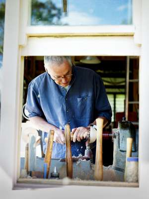 Patrick Senior in his woodworking workshop