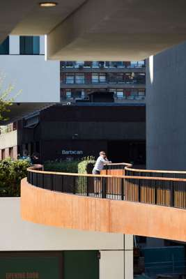 The elevated walkway connects offices with the Barbican Centre