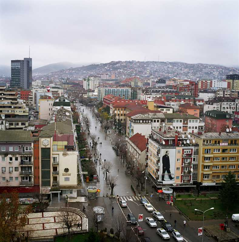 Pristina's city centre; the poster is of Kosovo's founding father, Ibrahim Rugova