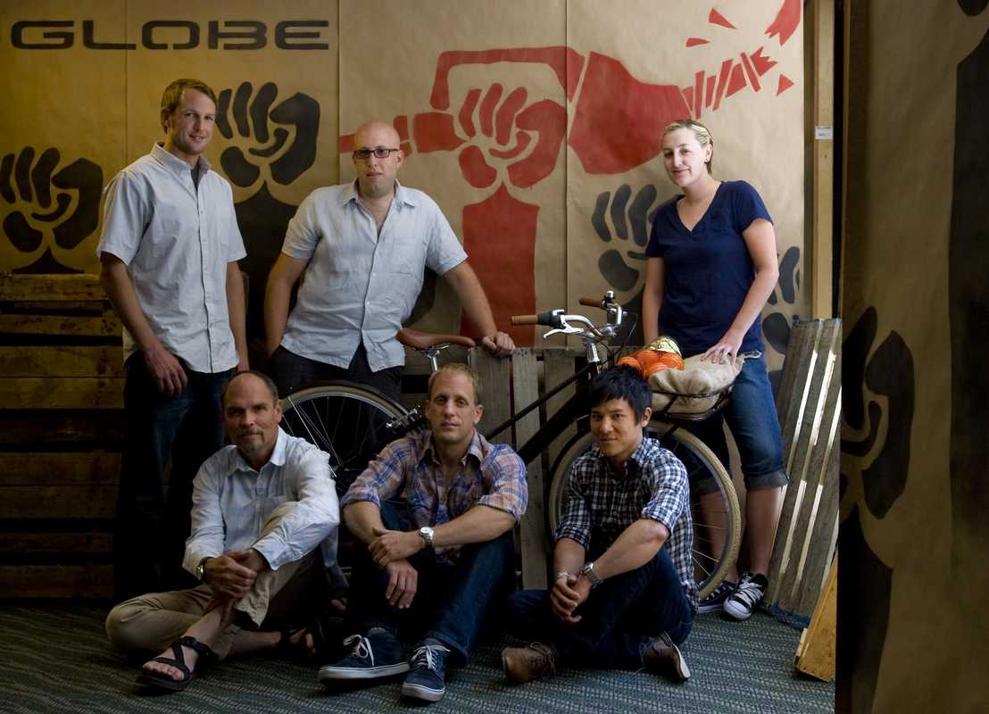 The Globe team (clockwise from top left): Greg Grenzke, Aaron Abrams, Amber Lucas, Garret Chow, Robin Sansom, Bryant Bainbridge