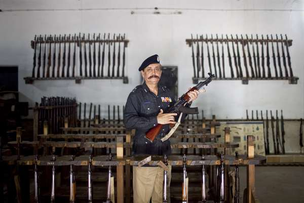Ahmed in the armoury at the police HQ