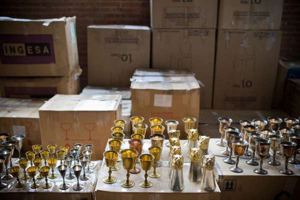 Confiscated metalware awaiting auction