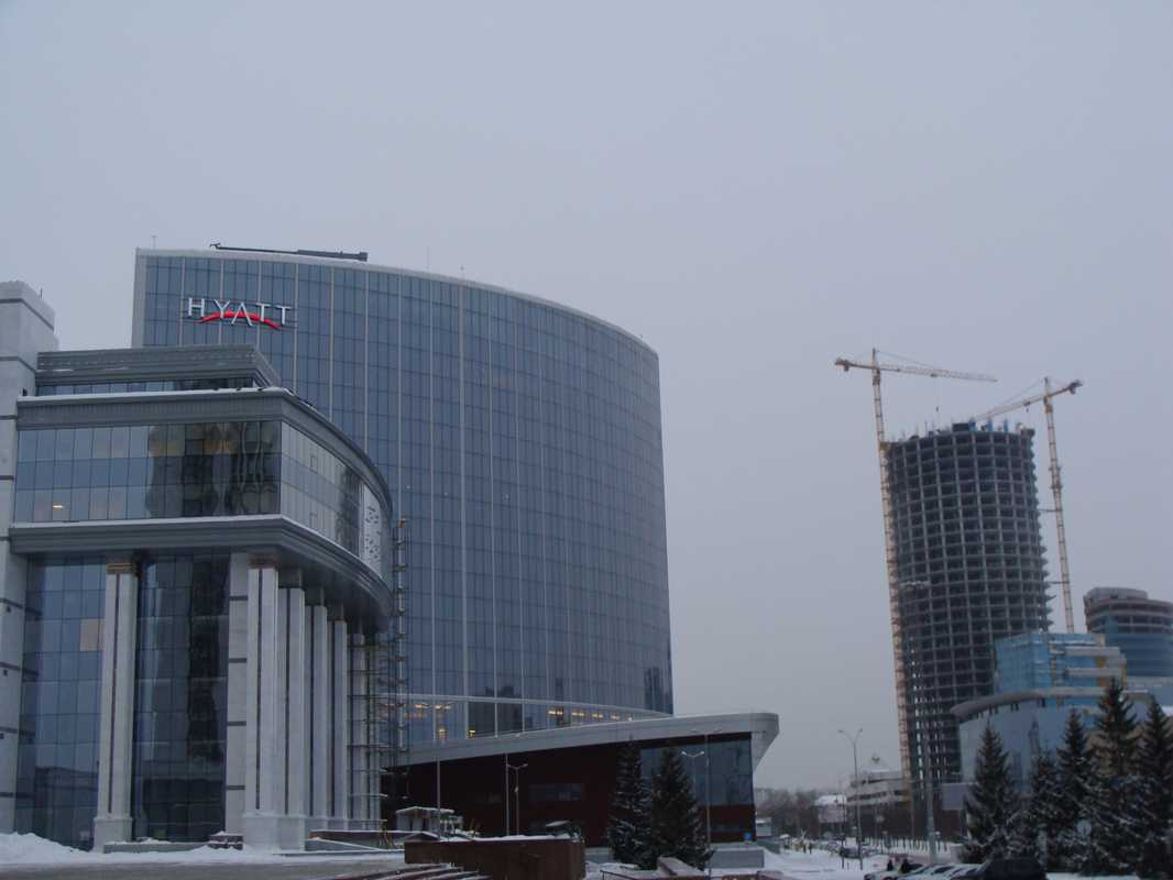 The newly built Hyatt hotel next to river Iset