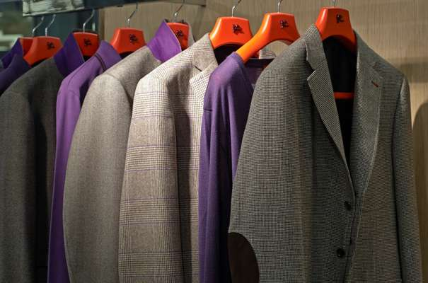 Purple was a strong theme – seen here at Isaia's stand