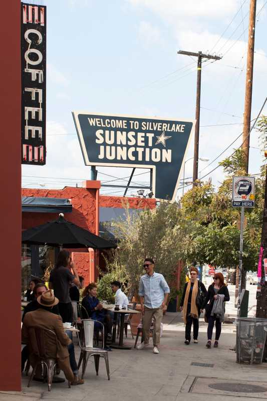 Neighbourhood types mingle at Sunset Junction's Intelligentsia Coffee & Tea, which sources coffee direct from growers