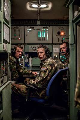 Dutch soldiers inside the Engagement Control Centre