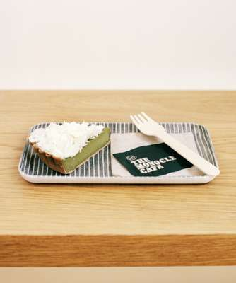 Lanka green tea cake, served on Fog Linen trays