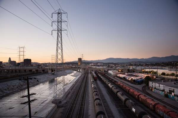 The Los Angeles River and train yards from the 6th Street Bridge