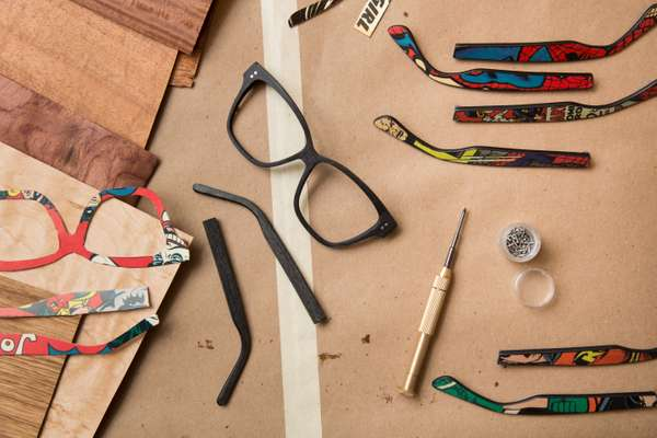 Reclaimed wood and comic-book laminates for making frames at Sire's Eyewear