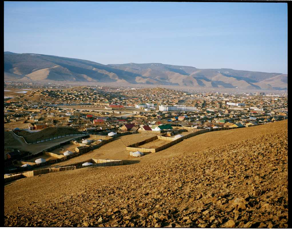Suburbs of Ulan Bator, where tented communities border houses