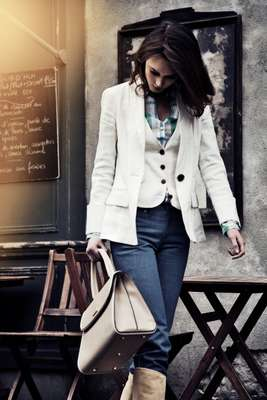 2. Jacket and waistcoat by Diane von Furstenberg, Shirt by Glanshirt, Jeans by Kitsuné, Boots by Hermès, Bag by Valextra