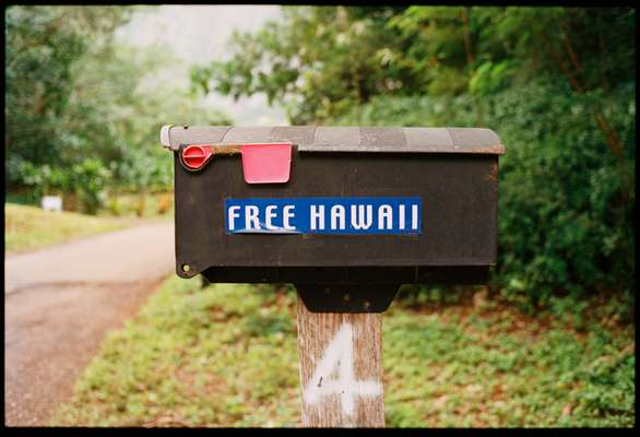 A mailbox in the autonomous village of Pu'uhonua O Waimanalo on O'ahu
