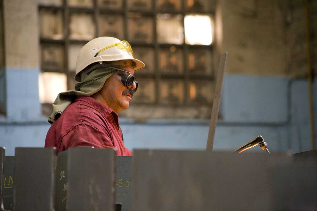 Welder in Navantia shipyard