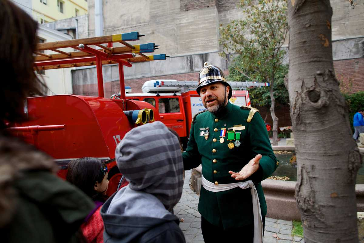 Officer at Chile's all volunteer fire department