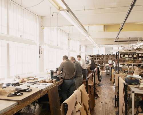Joseph Cheaney & Sons - 'Clicking Room' where the calf leather is cut