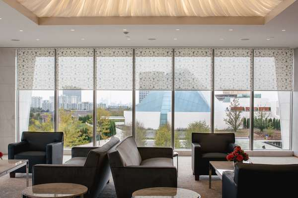 The private lounge has a clear view of the Ismaili Centre