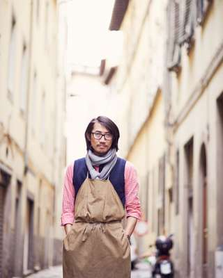 Hidetaka Fukaya outside his workshop in Florence