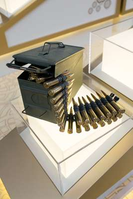 Ammunition for the .50 machine gun on display at the International Golden Group stand