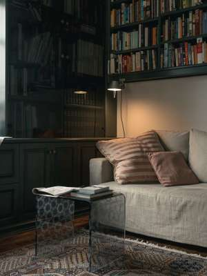 Reading nook with Artemide Tolomeo clamp lamp